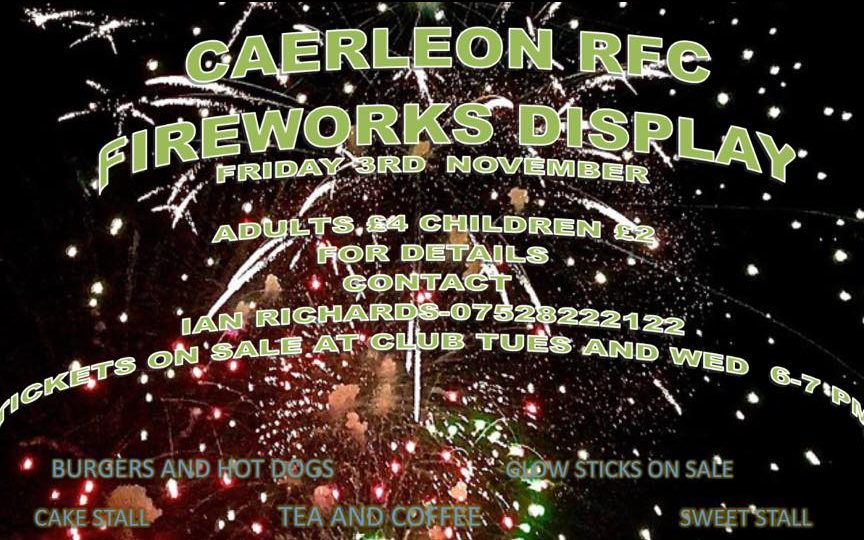 Caerleon RFC Firework display 3rd November | Open Caerleon